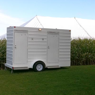 Double occupancy toilet trailer rental for special events