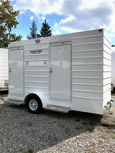 Heated double occupancy toilet trailer